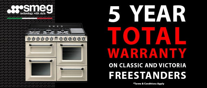 Smeg Classic & Victoria Total 5 Year Warranty