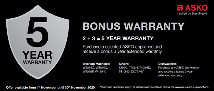 3 Year Extended Warranty on Selected ASKO Products