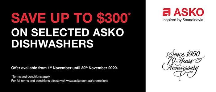 Save Up to $300 on Asko Dishwashers