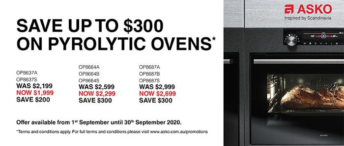 Save up to $300 on ASKO Pyrolytic Ovens