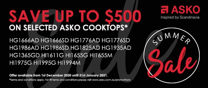 Save up to $500 ASKO Cooktops