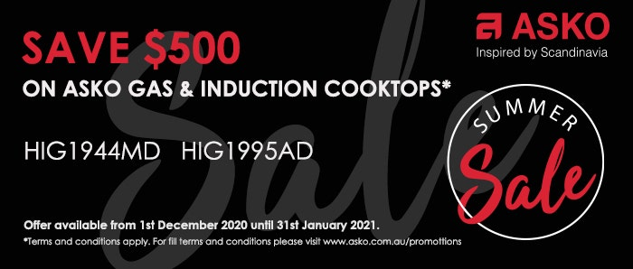 Save $500 off ASKO Gas + Induction Cooktops