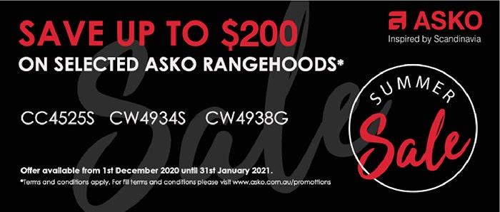 Save up to $200 off ASKO Rangehoods