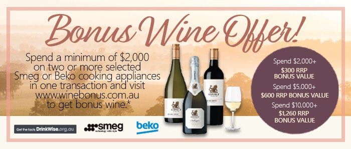 Smeg and Beko Bonus Wine Offer August Promotion