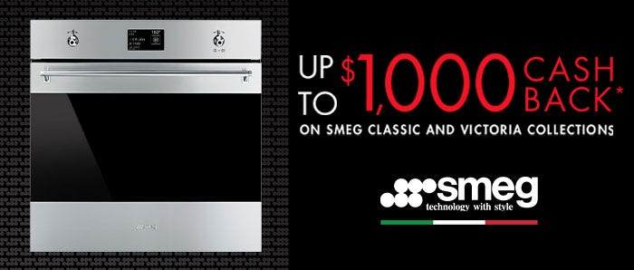 Up to $1000 Cashback on Classic and Victoria Ranges via Redemption with Smeg